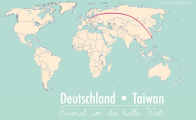 Weltkarte Deutschland – Taiwan