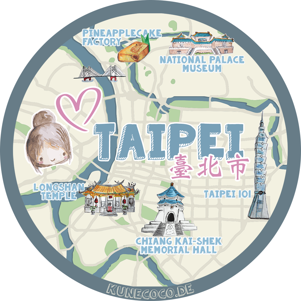 Illustration: Stadtplan von Taipei