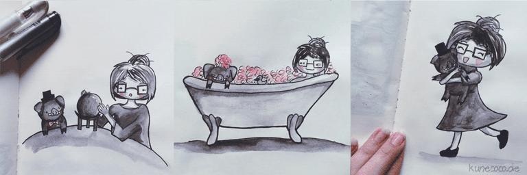 KuneCoco • Inktober Teil 2 • Wahrsagen, Badewanne und einfach mal knuddeln!