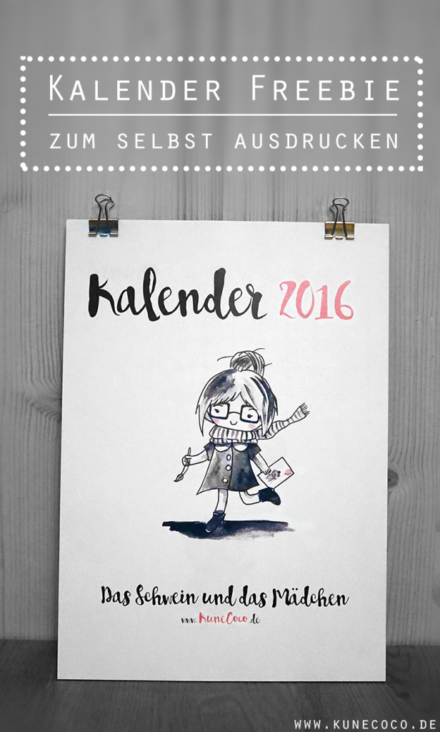 KuneCoco • Kalender 2016 • Kalender Freebie zum selbst ausdrucken
