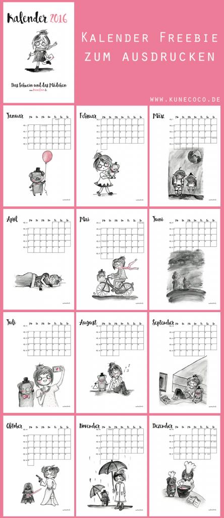 Kalender 2016 Zum Selbst Ausdrucken Freebie Und Gewinnspiel Kunecoco