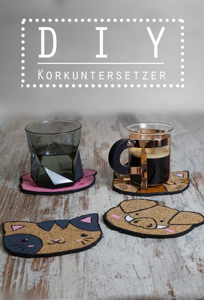KuneCoco • DIY • Korkuntersetzer • Schweine und Katzen