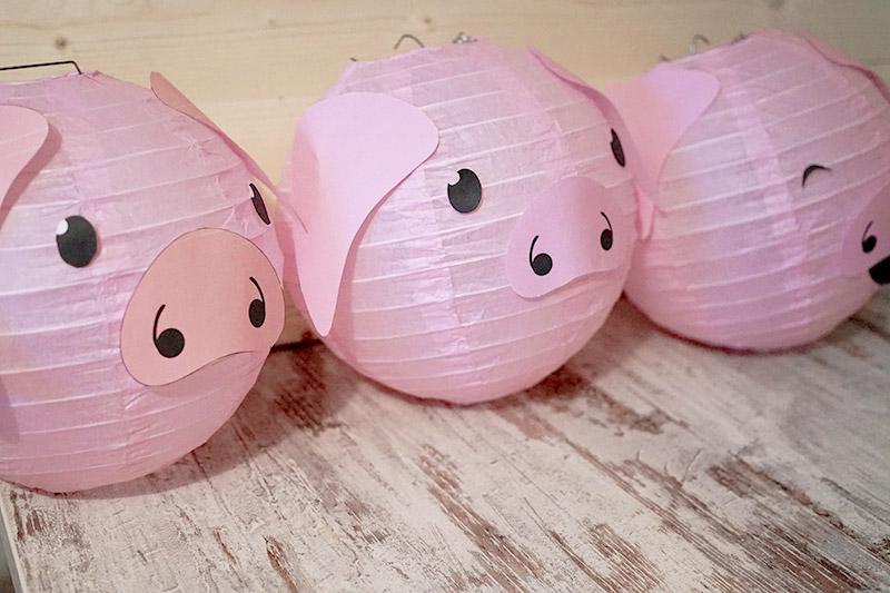 KuneCoco • DIY • LamPIGons • Schweine-Lampions mit Schweinegesicht