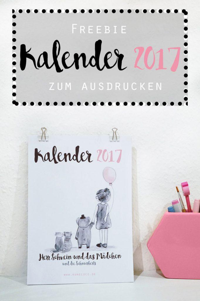 KuneCoco • Freebie • Kalender 2017 zum Ausdrucken
