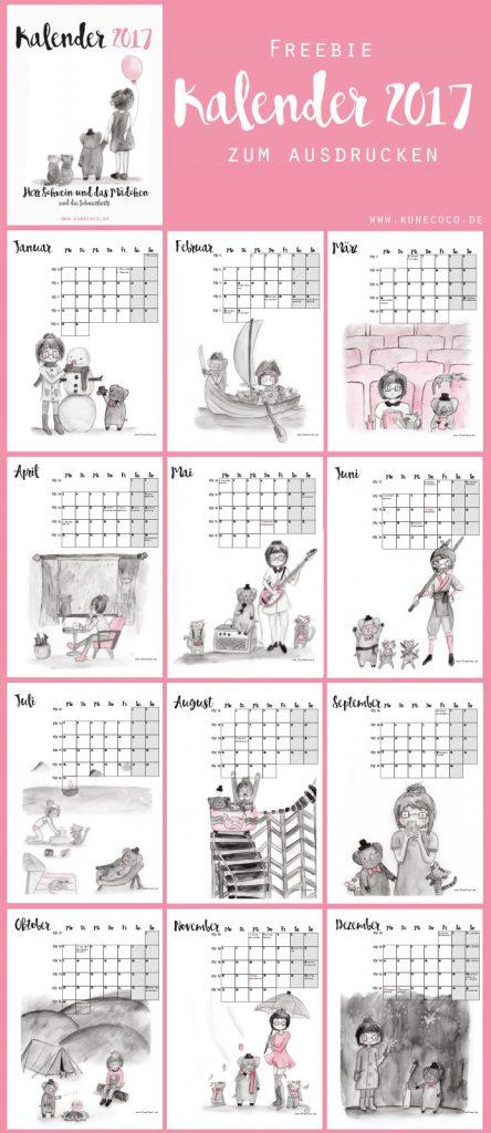 KuneCoco • Kalender 2017 zum downloaden und selbst ausdrucken