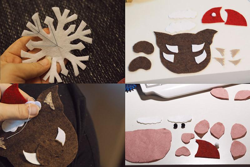 KuneCoco • Weihnachtliche Anhänger aus Filz • Wildschwein, Hausschwein, Schneeflocke