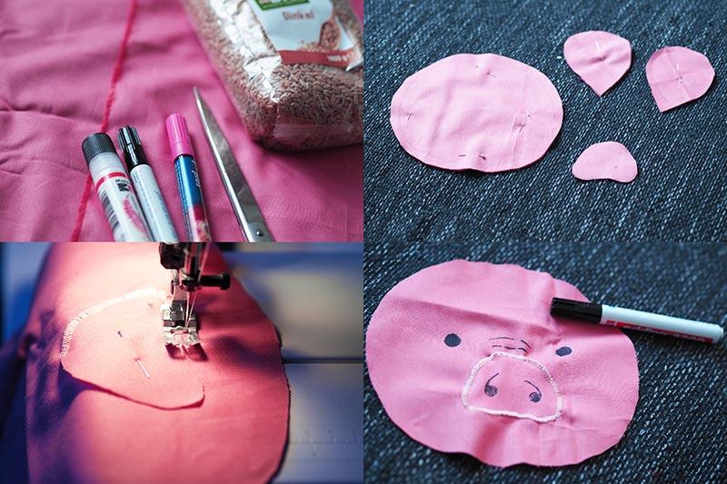 KuneCoco • DIY • Wärmekissen mit Dinkelfüllung • Schweine-Gesicht