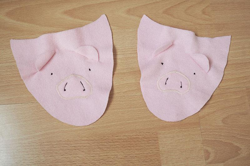 KuneCoco • DIY • Schweine-Pantoffeln • Schweine-Gesicht