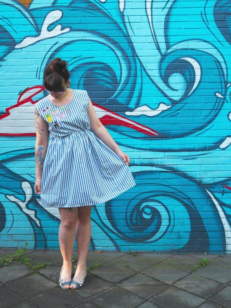 KuneCoco • #naehdirwas Mai • Gestreiftes Kleid mit aufgebügelten Patches