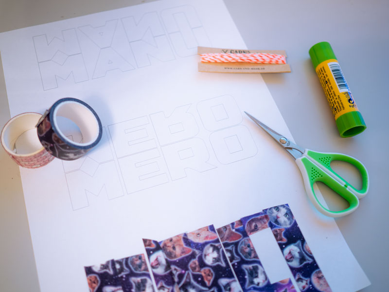 Material für eine Geschenkverpackung mit Washi Tape