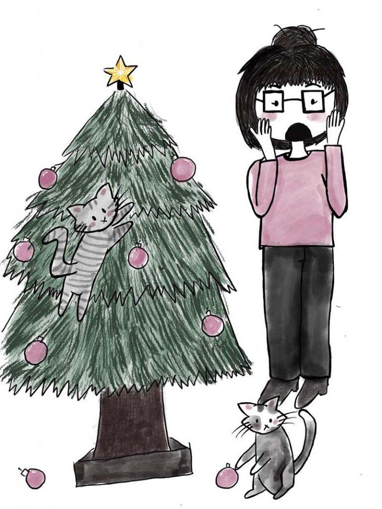 Katzen im Weihnachtsbaum