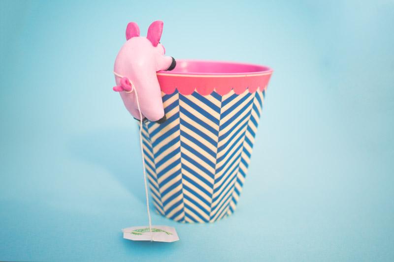 Schweinchen Teebeutelhalter aus Fimo