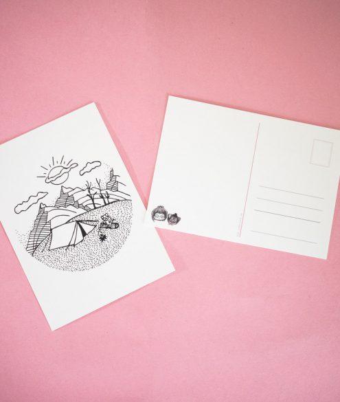 Postkarte Lagerfeuerschwein