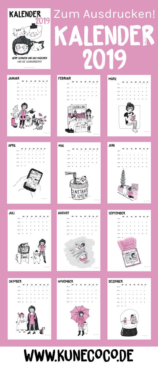 KuneCoco Kalender 2019 Übersicht